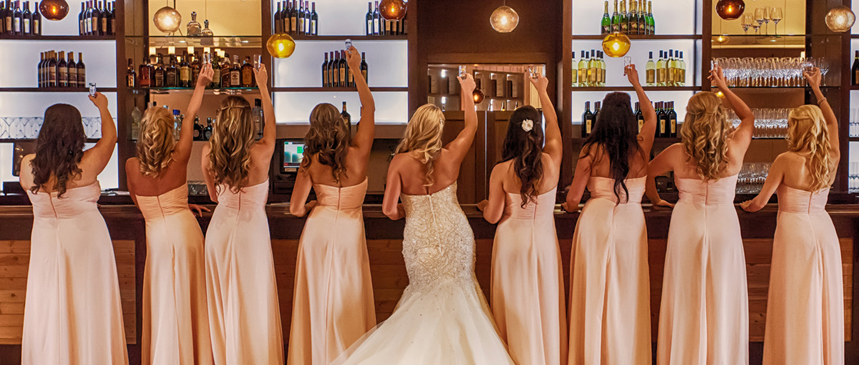 Picture of bridesmaids enjoying a toast at the Bella Rosa Venue